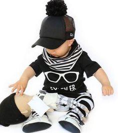 St203熱い販売子供服セット赤ちゃん服メガネパターン半袖t +ストライプパンツファッション男の子服