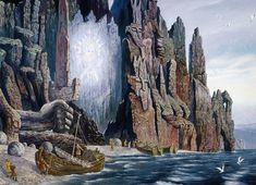 Hyperborea Or Atlantis Ruins – Underground Secrets Of The Sacred Lake On The Arctic Circle Fantasy World, Fantasy Art, Polo Norte, Ancient Myths, Ancient Aliens, Underground World, Russian Painting, Russian Art, Surrealism Painting