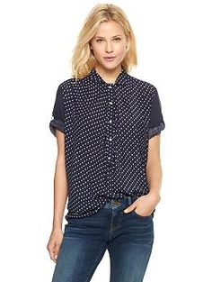 Printed popover tunic in navy multi | Gap Kimberly says: I like the loose fit, the navy color, the print