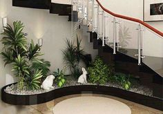 Indoor Garden Office and Office Plants Design Ideas For Summer 61 - Home Decor Ideas 2020 Courtyard Design, Garden Design, Home Stairs Design, House Design, Inside Garden, Stair Decor, House Plants Decor, Garden Office, Office Plants