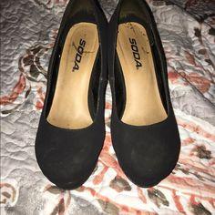 Black wedge heels Cute black wedge heels.Worn but with life left. Soda Shoes Wedges
