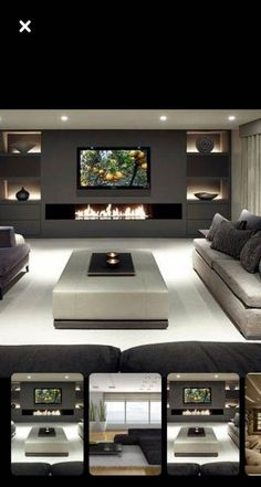 Basement bedroom for teenagers # darkbasementideas - Tiny house family ide. Basement bedroom for teenagers # darkbasementideas – Tiny house family idea – Basement b Led Living Room Lights, Living Room With Fireplace, New Living Room, Home Living, Modern Living, Modern Room, Minimalist Living, Living Room Ideas Tv Wall, Luxury Living