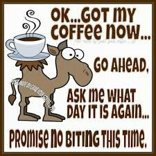OK... got my coffee now...  Go Ahead, Ask me what day it is again,,,, Promise no biting this time.