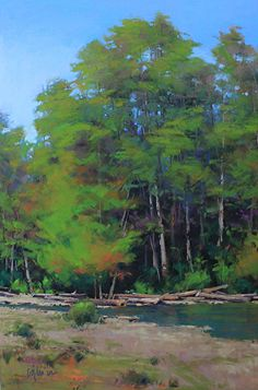 "Autumn Along the River - Pastel 36""x24"" by Susan Ogilvie"