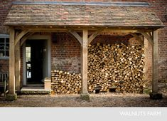 Double function porch and log store - brilliant! House With Porch, House Front, Ivy House, Farm House, Garden Cottage, Home And Garden, Dream Garden, Log Shed, Log Store