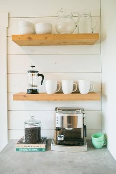 Open Shelving turned coffee bar | Fixer Upper | Optimizing your space