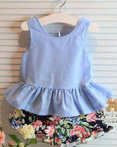 toddler girl clothing sets on sale at reasonable prices, buy 2016 Summer Kids Girls Clothes Flowers Brands Bow Backless Vest+Shorts Baby Suits Toddler Girls Clothing Set from mobile site on Aliexpress Now! Kids Outfits Girls, Toddler Girl Outfits, Girls Dresses, Toddler Girls, Kids Girls, Baby Girls, Baby Boy, Outfits Niños, 2 Piece Outfits