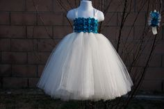 Flower Girl TuTu Dress. Ivory With Teal TuTu Dress.Wedding . Birthday.