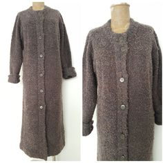 Vintage 80s Wool Long Cardigan Sweater Dress Size Small Boucle Jacket BOHO  #ClementsWest #Cardigan #Casual
