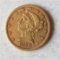 1886 S Liberty Head 5 Dollar Half Eagle Gold US Coin Featured in our upcoming auction on June 14!