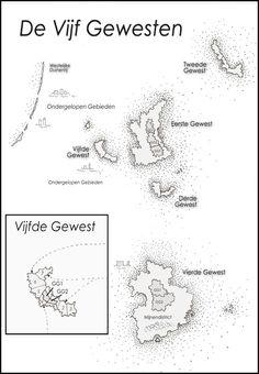 Jen Minkman maakte een kaartje van De Vijf Gewesten uit Overstroomd (Eva Moraal) www.evamoraal.nl