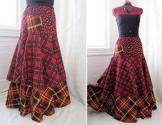 """Tartan Groove"" - Long Layered Patchwork Boho Skirt by Barefoot Modiste, via Flickr"