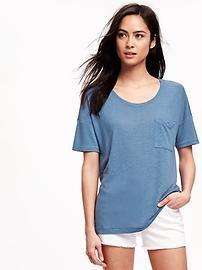 39e00608e78 Short-Sleeve Linen-Blend Boyfriend Tee for Women Petite T Shirts