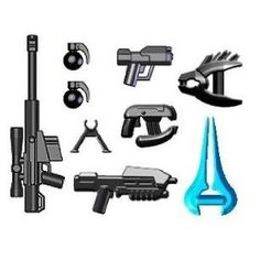 BrickArms 2.5 to 4 Inch Scale Figure Style HALO Style Weapon Pack (9 Pieces)