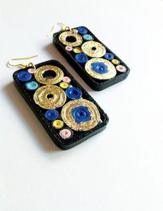 orecchini in carta quilling rettangolari, Frammenti_03 blu e oro