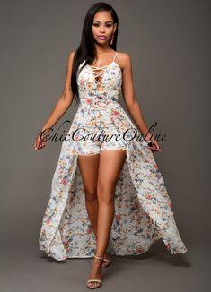 Yuliana Off-White Floral Romper Maxi Dress Cute Dresses, Short Dresses, Cute Outfits, Maxi Dresses, Romper Dress, Floral Romper, Summer Fashion Outfits, Women's Fashion Dresses, Fashion Night