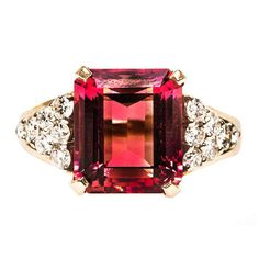 1980s Pink Tourmaline & Diamond Ring | From a unique collection of vintage fashion rings at http://www.1stdibs.com/jewelry/rings/fashion-rings/ $2450