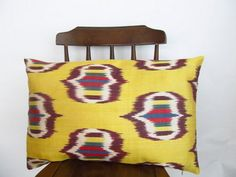 Silk Ikat pillowDecorative pillow coverZigzag  by asiapillow, $50.00