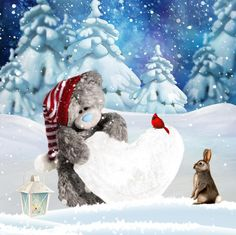 ♥ Tatty Teddy ♥ Christmas Teddy Bear, 3d Christmas, Christmas Pictures, All Things Christmas, Christmas Cards, Christmas Decorations, Tatty Teddy, Blue Nose Friends, Friends In Love