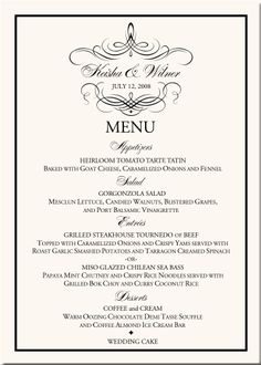 wedding menu card chic calligraphy wedding collection custom Wedding Reception Menu Cards wedding menu cards vintage monogram menu cards special event menu cards wedding reception wedding reception menu cards