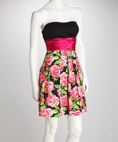 Take a look at this Black & Pink Floral Dress by Maddy Paige on #zulily today!