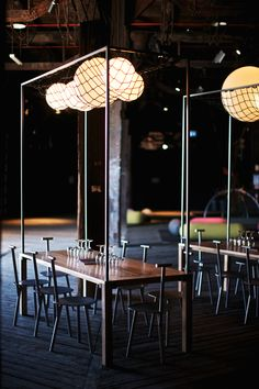 sydney: the blocks bar - chose this for the lighting effect and a simple way to create height in an atmosphere over the dinner table, well depending on the ceiling height you are working with!