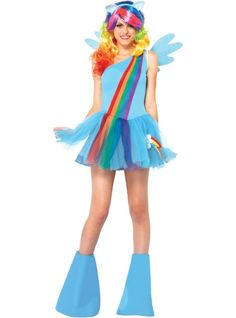 Trot to costumed cuteness with our My Little Pony Rainbow Dash Costume for women! My Little Pony Rainbow Dash Costume features a tutu dress, wings, wig, headband, tail and leg warmers.