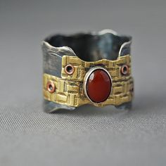 Sterling and Brass Riveted Ring | Flickr - Photo Sharing!
