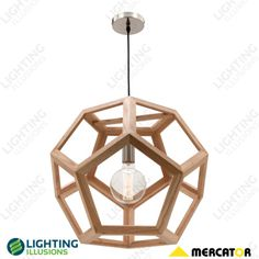 55cm Peeta Natural Timber Pendant Light