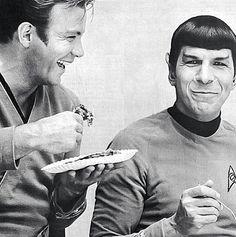 Cap'n Kirk and Mr. Spock paling around