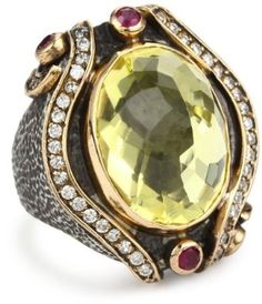 BORA Handcrafted Oxidized Sterling Silver, Lemon Quartz, and Ruby Ring $350  omg this is a amazing design <3 it
