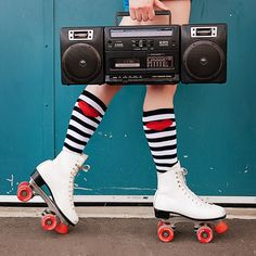 My skates where white with blue pom poms lol <3 Rollerskates by Theladymargaret on flickr