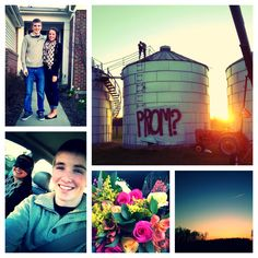 He blindfolded me and surprised me by driving to our special spot on my family's farm. He knows I'm obsessed with sunsets, so of course it was at sunset. He told me to remove the blindfold and he was standing there holding flowers and asked me to prom. We then climbed to the top of the grain bin and watched the sun go down. ❤️  Promposal