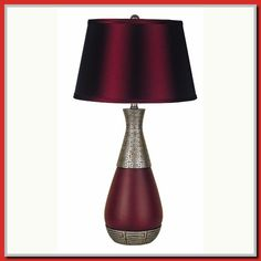ORE International in. Unique Burgundy and Silver Table Lamp 8163 - The Home Depot Silver Table Lamps, Unique Table Lamps, 3 Way Light Bulb, Burgundy Bedroom, Unique Front Doors, Vanity Light Bar, Lighting Universe, Front Door Handles, Front Door Design