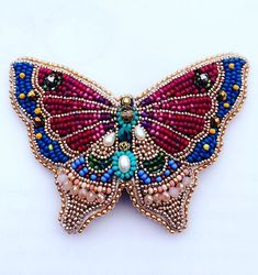 My last butterfly (Not available) Will have matching studs 🌿 Bead Embroidery Patterns, Butterfly Embroidery, Bead Embroidery Jewelry, Beaded Embroidery, Bead Crafts, Jewelry Crafts, Jewelry Art, Bead Jewellery, Beaded Jewelry