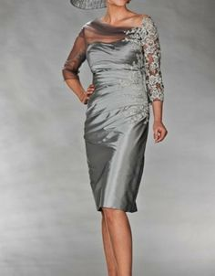 Gray taffeta mother of the bride/groom dress Half sleeve applique wedding party dress all plus size evening dress for formal occasion Half Sleeve Dresses, Mob Dresses, Special Dresses, Formal Dresses, Bride Dresses, Prom Gowns, Fashion Dresses, Plus Size Party Dresses, Evening Dresses Plus Size