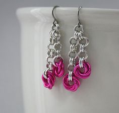 Double Rose Dangle Chainmaille Earrings by GoldenHarvestStudios, $10.00
