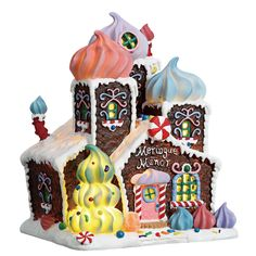 Lemax Meringue Manor - SKU# Released in 2016 for the Sugar N Spice Collection exclusively for Gift Spice. Lemax Christmas Village, Gingerbread Village, Christmas Gingerbread, Christmas Villages, Whoville Christmas, Christmas Party Games, Outdoor Christmas Decorations, Christmas Time, Christmas Ornaments