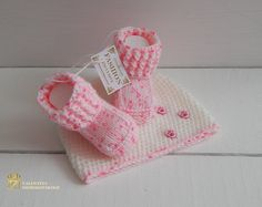 Hand-knitted - made with love  Baptism gift Baptism , christening baby shoes Only the best quality  This is the white newborn photo prop set! Adorable crocheted booties and beanie are made with ultra soft acrylic yarn that is super comfy for newborn babies.  The booties can be used as a great finishing touch to an evening outfit.  From a smoke-free, pet-free home. I recommend hand washing and air dry.