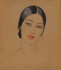 "1632/503 - Gerda Wegener: ""Orientale"". Signed Gerda Wegener, Paris 1924. Pencil and watercolour on paper. Visible size 43 x 38 cm."