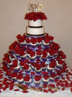 Son's wedding cake with cupcakes by Piece of Cake by Carri McPherson, Hanover, Maine!  Beautiful snd delicious!