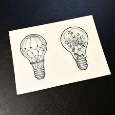135 vind-ik-leuks, 7 reacties - Zina (@zinaink) op Instagram: 'Some new lightbulbs #nature #simple #light #flowers #in #lightbulb #bulbs #blackwork #air…' Sharpie Drawings, Easy Drawings, Tattoo Drawings, Light Bulb Drawing, Light Bulb Art, Life Tattoos, Cool Tattoos, Easy Scenery Drawing, Lightbulb Tattoo