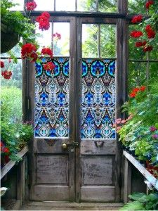 Stained glass window film (sticker material) from PURL Deco on old doors for a greenhouse. Garden Doors, Garden Gates, Garden Art, Garden Design, Glass Garden, Garden Ideas, Garden Entrance, House Entrance, Green Garden