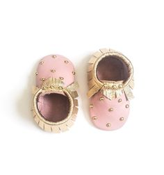 Studded Moccasins - Blush Pink + Gold. Baby moccasins, leather children's shoes, kid fashion