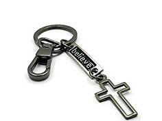 Amazon.com: BrownBeans, Black Alloy Cute Christian Cross Keychain Key Chain Ring Holder (BBKC1010): Automotive