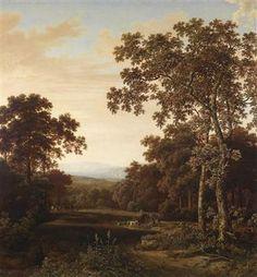 Dorotheum, Vienna-Eine bewaldete Landschaft, rechts im Vordergrund zwei hohe Laubbäume, dahinter eine Reiterin und berittene Jäger,