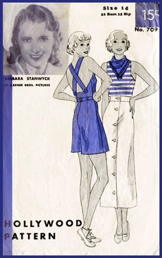 Hollywood 709 1930s Misses Three-Piece Sports Outfit. Misses sports ensemble consist of bodice, shorts and skirt. Suspenders, in one with the bodice front,