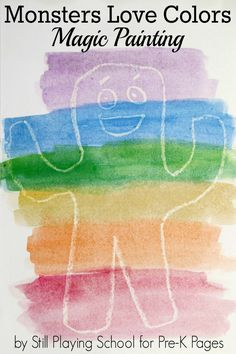 Monsters Love Colors: Watercolor Resist. Your kids will LOVE this hilarious book. Do this easy crayon resist painting activity after you read the book. Super fun for preschool and kindergarten kids! - Pre-K Pages