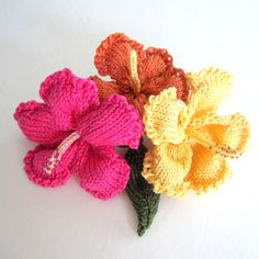 Knit Flower Instant Download PDF Pattern - Hibiscus Flower by OhmayDIY