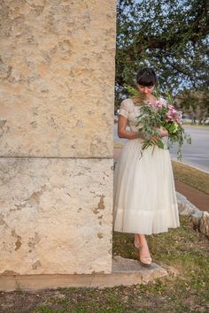Vintage 1950's tea length wedding dress from Dalena Vintage